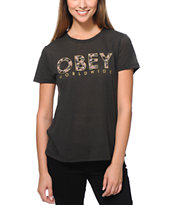Obey Floral Worldwide Black Back Alley T-Shirt