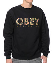 Obey Floral Worldwide Black Crew Neck Sweatshirt