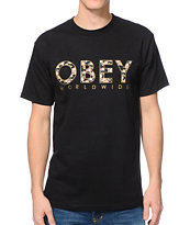 Obey Floral Worldwide Black Tee Shirt