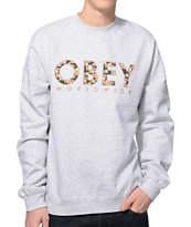 Obey Floral Worldwide Heather Grey Crew Neck Sweatshirt