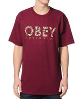 Obey Floral Worldwide Oxblood T-Shirt