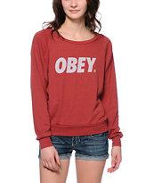 Obey Font Burgundy Raglan Top