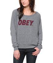Obey Font Grey Raglan Top