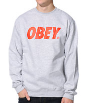 Obey Font Heather Grey Crew Neck Sweatshirt