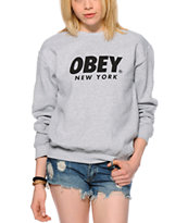 Obey Font NYC Grey Crew Neck Sweatshirt
