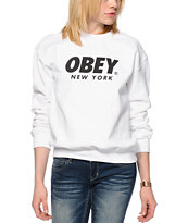 Obey Font NYC White Crew Neck Sweatshirt