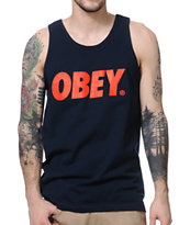 Obey Font Navy & Red Tank Top