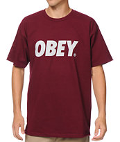 Obey Font Oxblood Burgundy Tee Shirt