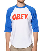 Obey Font White & Blue Raglan Baseball Tee Shirt