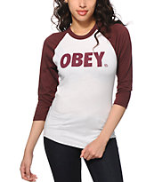 Obey Font White & Burgundy Baseball Tee Shirt