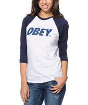 Obey Font White & Navy Baseball T-Shirt