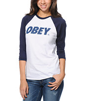 Obey Font White & Navy Baseball Tee