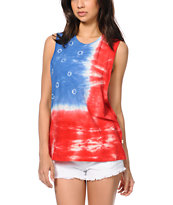 Obey Free Fallin Tie Dye Cut Off Tank Top