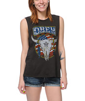 Obey Freedom Skull Charcoal Moto Cut-Off Tank Top