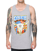 Obey Freedom Skull Heather Grey Tank Top