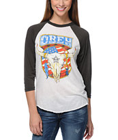 Obey Freedom Skull Natural & Grey Vintage Baseball Tee Shirt