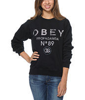 Obey Girls '89 Black Throwback Crew Neck Sweatshirt
