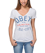 Obey Girls All-City Heather White V-Neck Tee Shirt