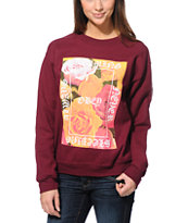 Obey Girls Always Never Maroon Throwback Crew Neck Sweatshirt