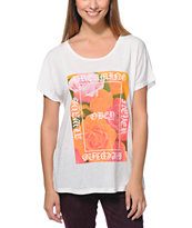 Obey Girls Always Never Natural White Modern Dolman Tee Shirt