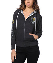 Obey Girls American Dissent Charcoal Zip Up Hoodie