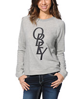 Obey Girls Azalea Heather Grey Crew Neck Sweatshirt