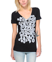 Obey Girls Badge Of Honor Black V-Neck Tee Shirt