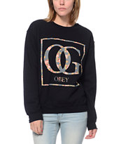 Obey Girls Boxed OG Floral Black Throwback Crew Neck Sweatshirt