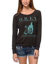 Obey Girls Burning Rose Graphite Raglan Top