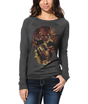 Obey Girls Cavalera Graphite Mountain Crew Neck Sweatshirt