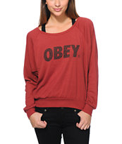Obey Girls Cheetah Font Burgundy Raglan Top
