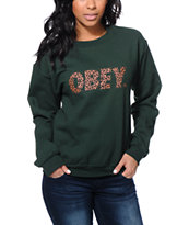 Obey Girls Cheetah Font Green Throwback Crew Neck Sweatshirt