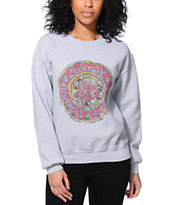Obey Girls Cosmic Blues Grey Throwback Crew Neck Sweatshirt