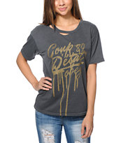 Obey Girls Coup Grey Destroyed Tee Shirt