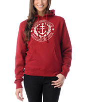 Obey Girls Cruise Liner Garnet Red Pullover Hoodie