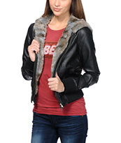 Obey Girls Danger Zone Black Faux Leather Bomber Jacket