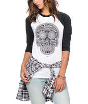 Obey Girls Day Of The Dead Black & White Baseball Tee Shirt