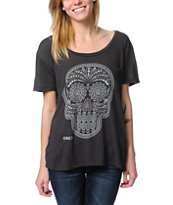 Obey Girls Day Of The Dead Charcoal Throwback Tee Shirt