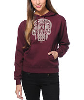 Obey Girls Day Of The Dead Maroon Pullover Hoodie