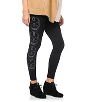 Obey Girls Death Hallucination Black Printed Leggings