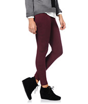Obey Girls Death Hallucination Maroon Printed Leggings