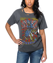 Obey Girls Death Kreeps Grey Destroyed Tee Shirt