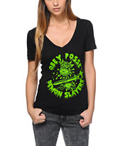 Obey Girls Demon Slayer Black V-Neck Tee Shirt