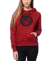 Obey Girls Devious Scumbags Garnet Red Pullover Hoodie