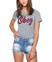 Obey Girls Dewallen Script Grey Tri-Blend Tee Shirt