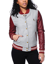 Obey Girls Drop Out Grey & Burgundy Varsity Jacket