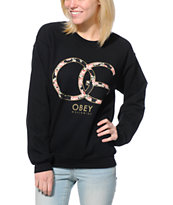 Obey Girls Emporium Black Throwback Crew Neck Sweatshirt