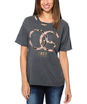 Obey Girls Emporium Dark Grey Destroyed Tee Shirt