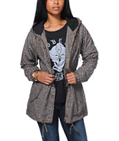 Obey Girls Everett Green Leopard Print Parka Jacket