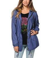 Obey Girls Everett Navy Polka Dot Parka Jacket